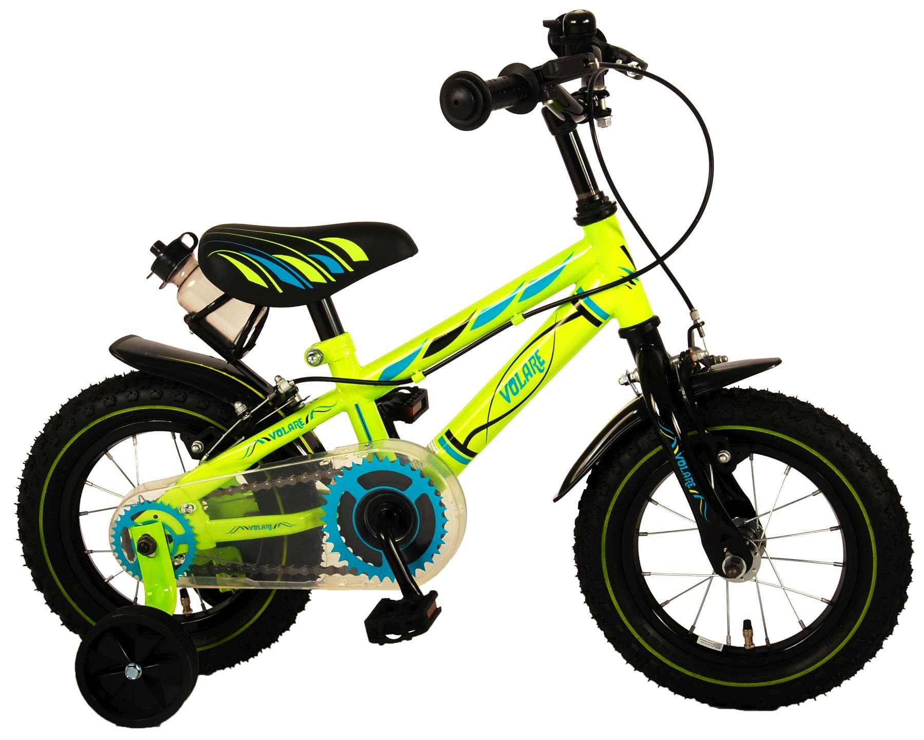Kinderfahrrad 12 Zoll  Electric Green  - Zwei Handbremsen