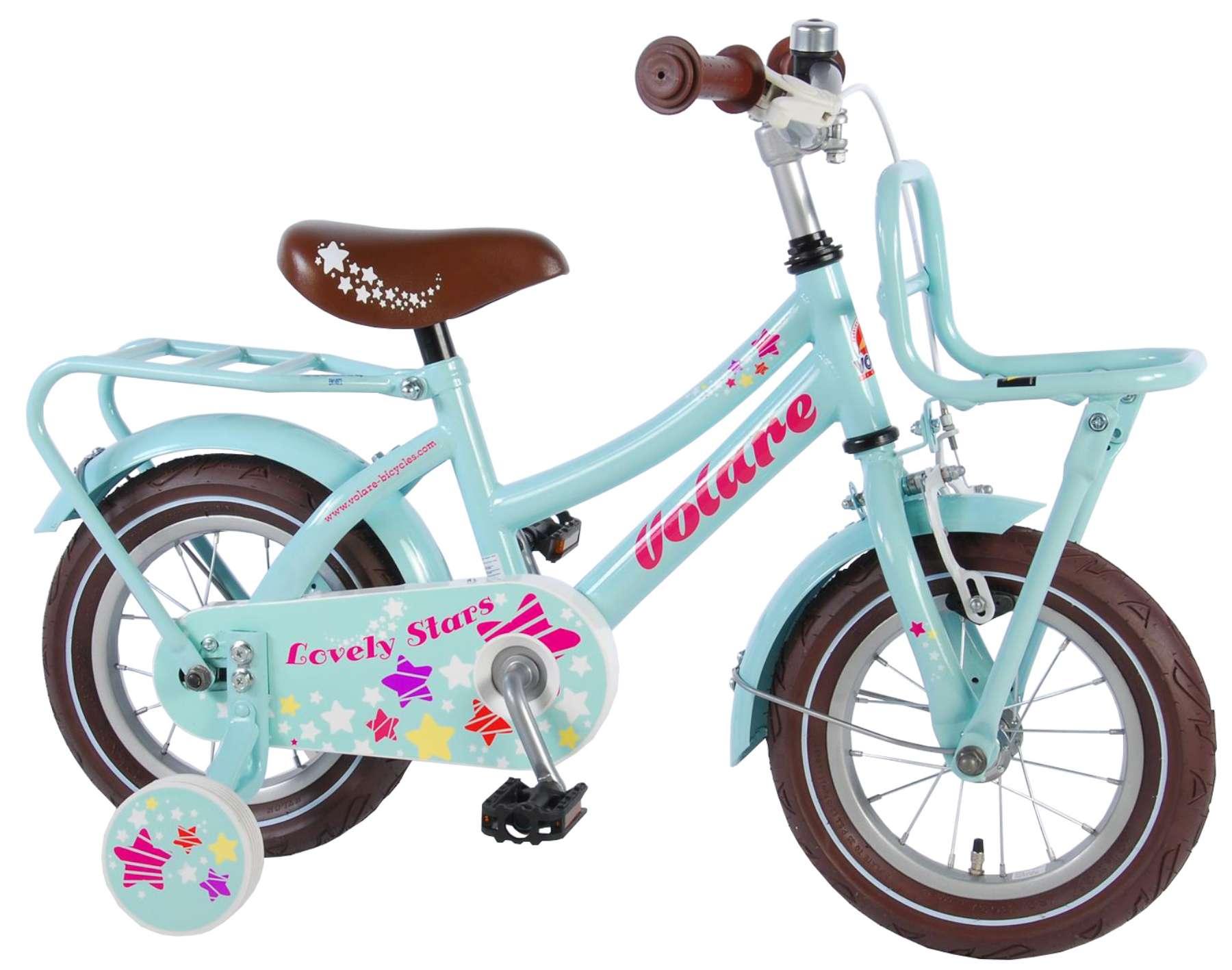 Volare Lovely Stars Kinderfahrrad - Mädchen - 12 Zoll - Mint Blue - 95% Zusammengebaut